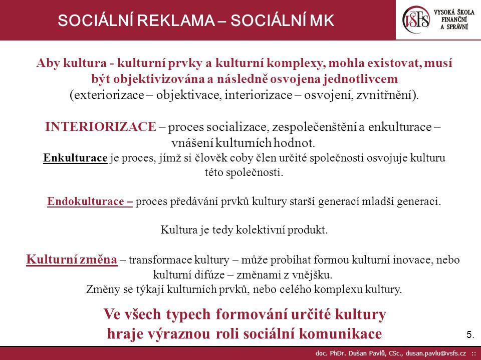 16. doc. PhDr. Dušan Pavlů, CSc., dusan.pavlu@vsfs.cz :: SOCIÁLNÍ REKLAMA – SOCIÁLNÍ MK
