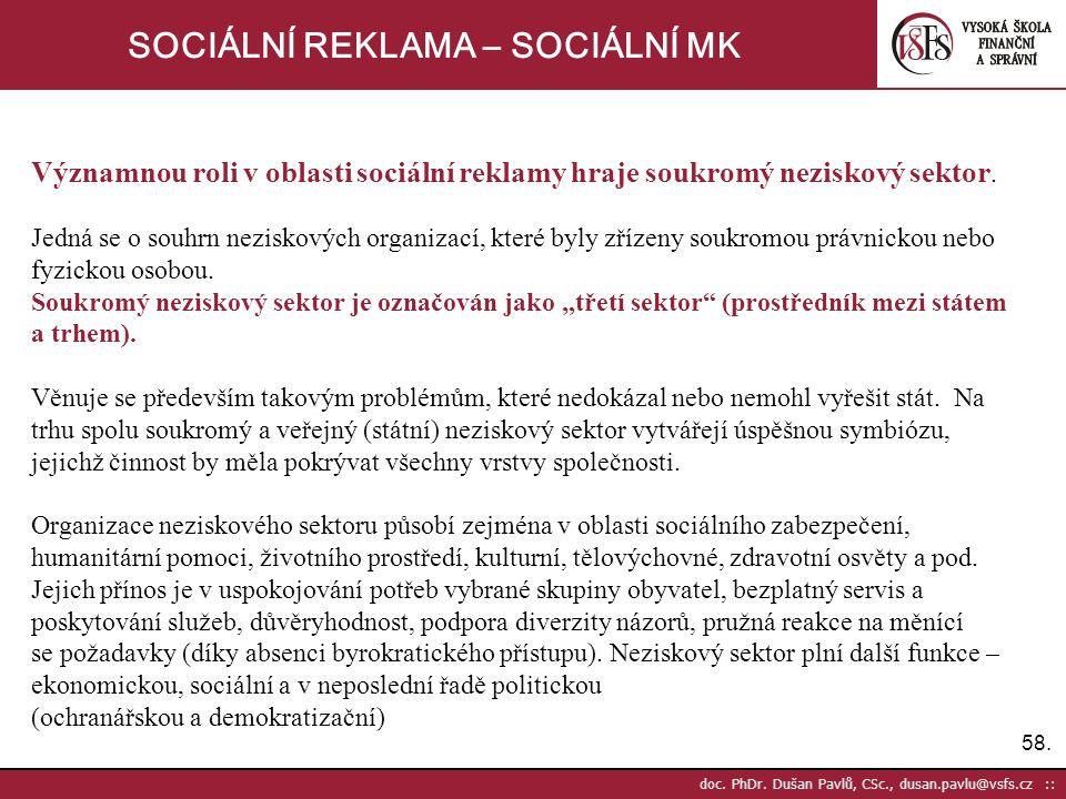 58. doc. PhDr. Dušan Pavlů, CSc., dusan.pavlu@vsfs.cz :: SOCIÁLNÍ REKLAMA – SOCIÁLNÍ MK Významnou roli v oblasti sociální reklamy hraje soukromý nezis