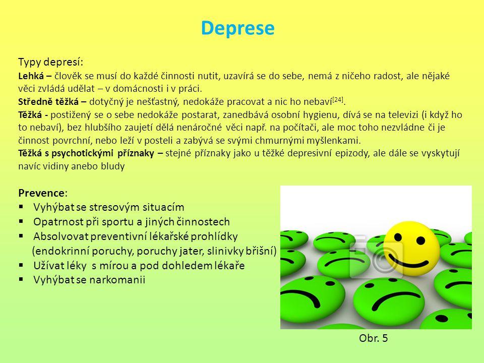Deprese Typy depresí: Lehká – člověk se musí do každé činnosti nutit, uzavírá se do sebe, nemá z ničeho radost, ale nějaké věci zvládá udělat – v domá