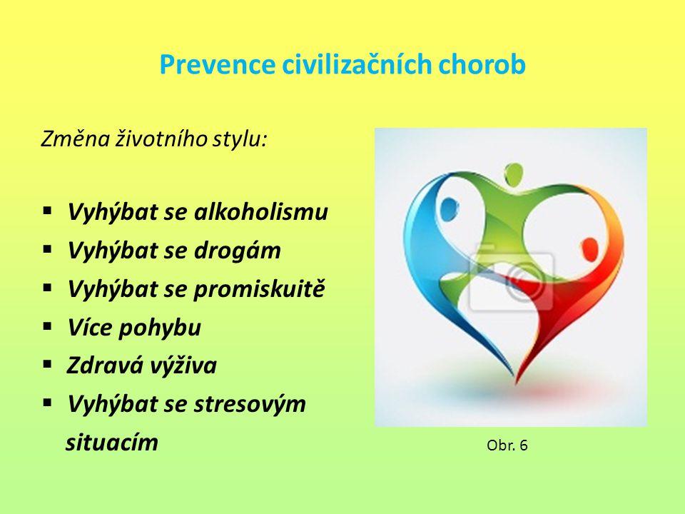Prevence civilizačních chorob Změna životního stylu:  Vyhýbat se alkoholismu  Vyhýbat se drogám  Vyhýbat se promiskuitě  Více pohybu  Zdravá výži