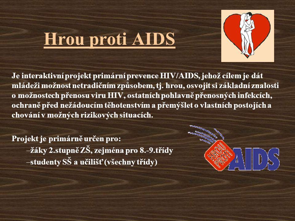 Hrou proti AIDS Je interaktivní projekt primární prevence HIV/AIDS, jehož cílem je dát mládeži možnost netradičním způsobem, tj. hrou, osvojit si zákl