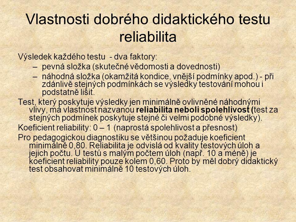 Vlastnosti dobrého didaktického testu reliabilita Výsledek každého testu - dva faktory: –pevná složka (skutečné vědomosti a dovednosti) –náhodná složka (okamžitá kondice, vnější podmínky apod.) - při zdánlivě stejných podmínkách se výsledky testování mohou i podstatně lišit.