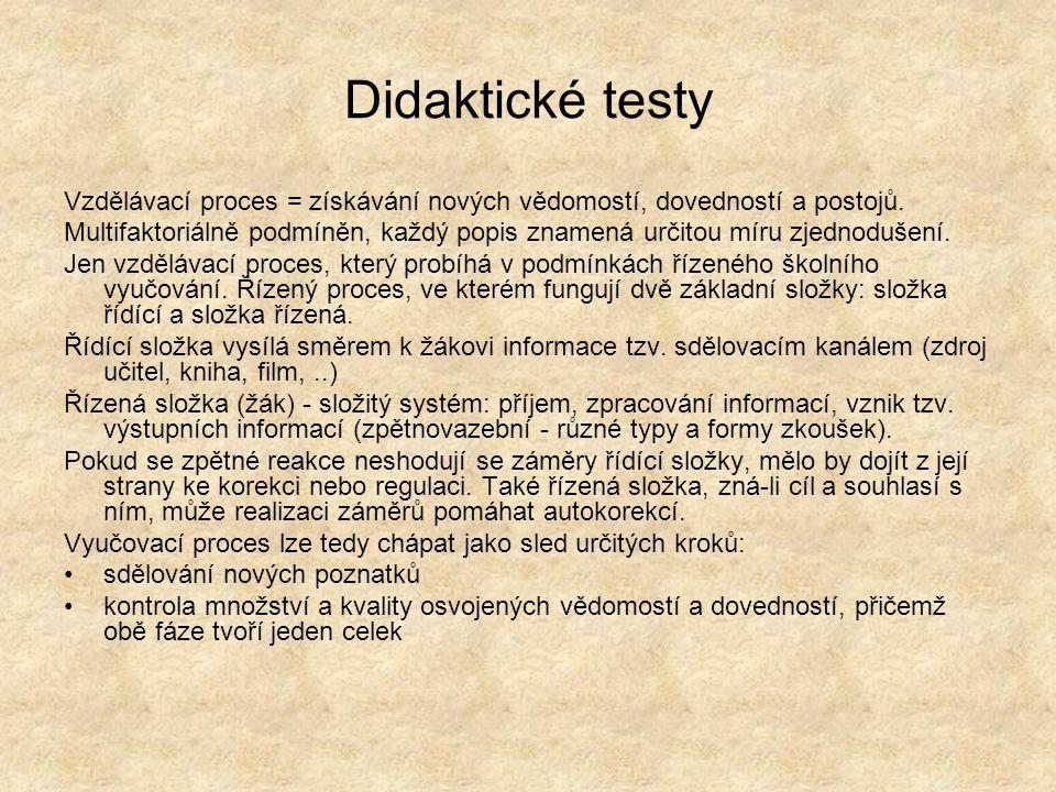 Didaktické testy Vzdělávací proces = získávání nových vědomostí, dovedností a postojů. Multifaktoriálně podmíněn, každý popis znamená určitou míru zje