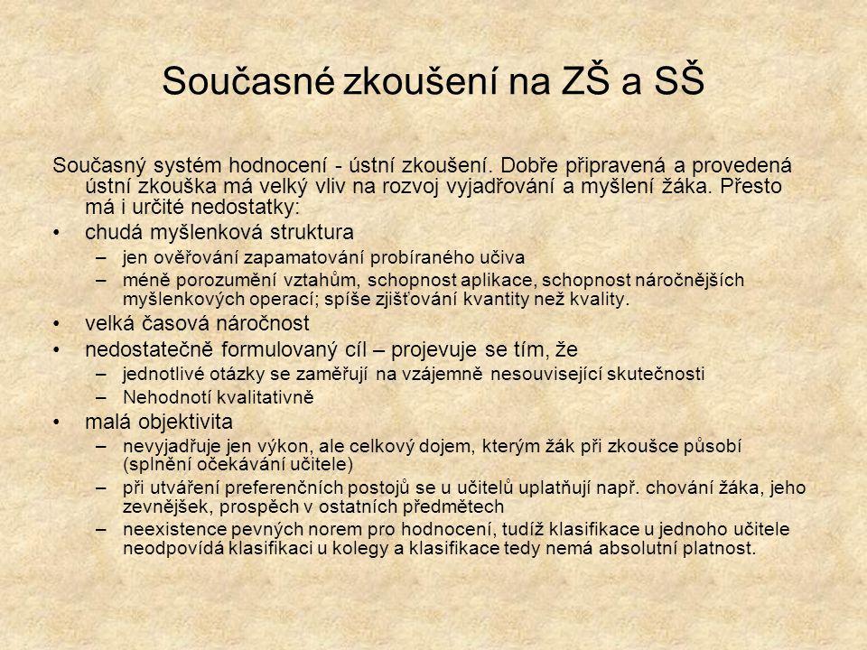 Současné zkoušení na ZŠ a SŠ Současný systém hodnocení - ústní zkoušení.