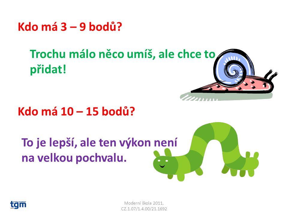 Moderní škola 2011, CZ.1.07/1.4.00/21.1692 Kdo má 3 – 9 bodů.