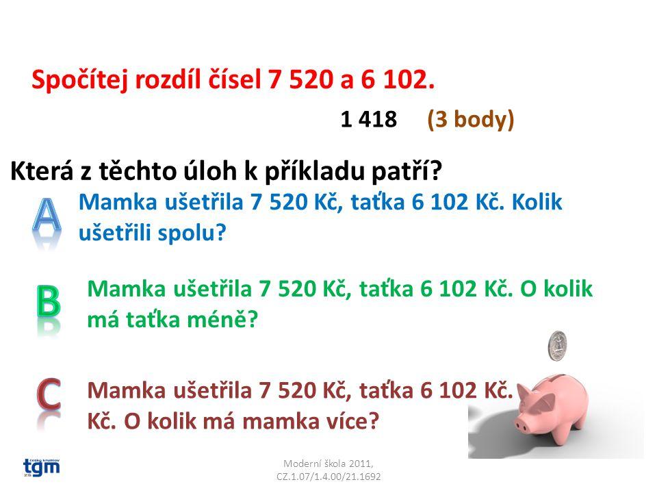 Moderní škola 2011, CZ.1.07/1.4.00/21.1692 Která z těchto úloh k příkladu patří.