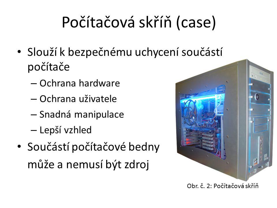 Počítačová skříň (case) Slouží k bezpečnému uchycení součástí počítače – Ochrana hardware – Ochrana uživatele – Snadná manipulace – Lepší vzhled Součá