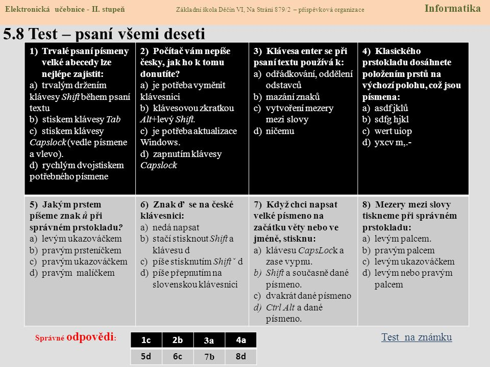 5.7 Keyboarding Elektronická učebnice - II. stupeň Základní škola Děčín VI, Na Stráni 879/2 – příspěvková organizace Informatics Use English keyboard