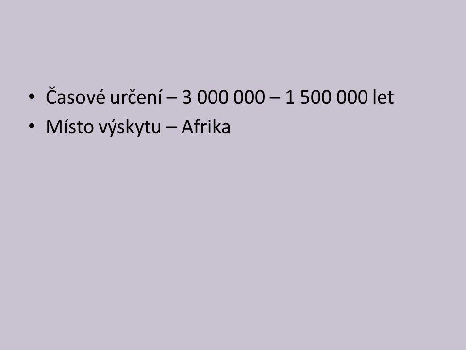 Časové určení – 3 000 000 – 1 500 000 let Místo výskytu – Afrika