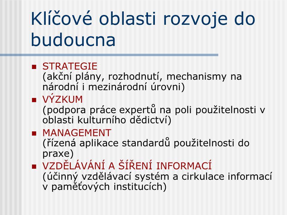 Klíčové oblasti rozvoje do budoucna STRATEGIE (akční plány, rozhodnutí, mechanismy na národní i mezinárodní úrovni) VÝZKUM (podpora práce expertů na poli použitelnosti v oblasti kulturního dědictví) MANAGEMENT (řízená aplikace standardů použitelnosti do praxe) VZDĚLÁVÁNÍ A ŠÍŘENÍ INFORMACÍ (účinný vzdělávací systém a cirkulace informací v paměťových institucích)