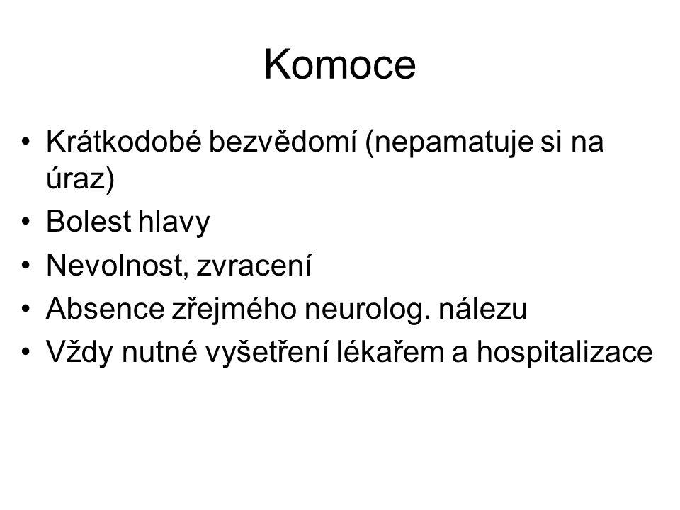 Komoce Krátkodobé bezvědomí (nepamatuje si na úraz) Bolest hlavy Nevolnost, zvracení Absence zřejmého neurolog. nálezu Vždy nutné vyšetření lékařem a