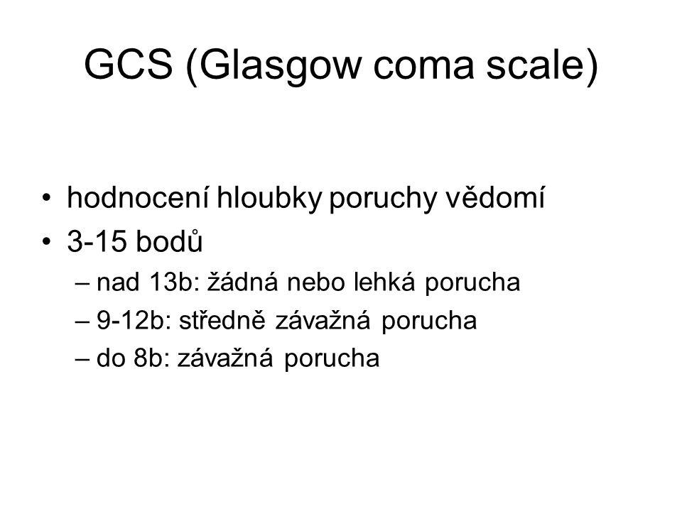 GCS (Glasgow coma scale) hodnocení hloubky poruchy vědomí 3-15 bodů –nad 13b: žádná nebo lehká porucha –9-12b: středně závažná porucha –do 8b: závažná