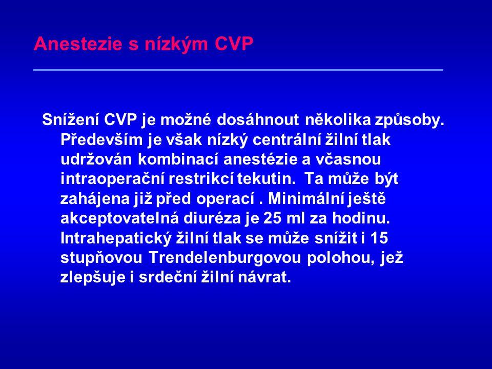 Anestezie s nízkým CVP Hypovolemická anestézie mimořádně přispěla ke snížení peroperačních krevních ztrát. Snížení centrálního žilního tlaku pod 5 cm