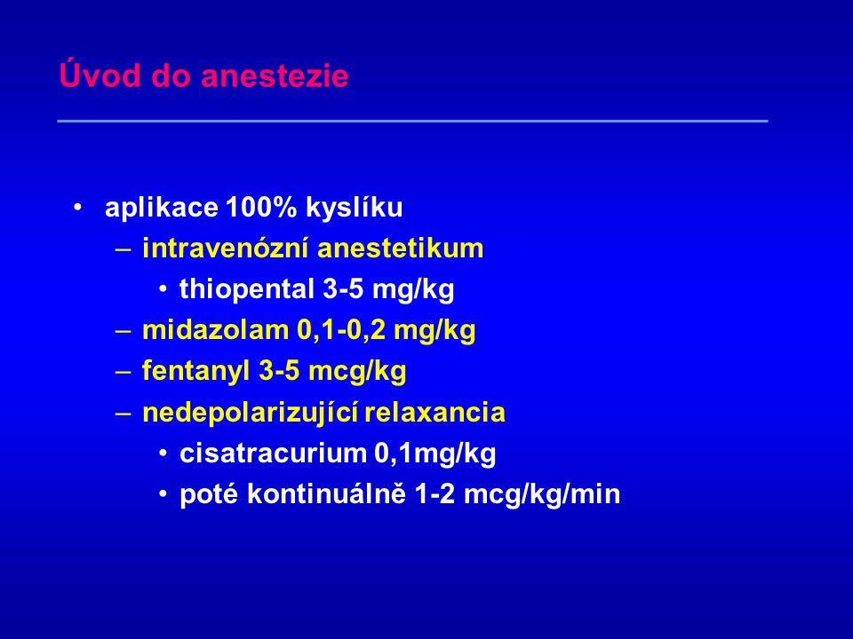 Předoperační příprava interní vyšetření (nyní včetně Limon) premedikace –diazepam –atropin, prothazin předoperačně zaveden epidurální katétr –Th8-10 –peroperačně podáván sufentanil 10 mcg