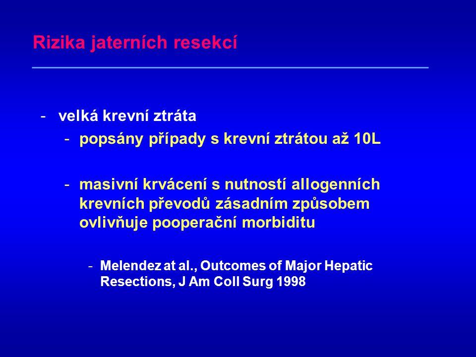 Resekce jater -jediná potenciálně kurabilní léčba -jaterních metastáz -metastatická rakovina (především kolorektální karcinom) tvoří v rozvinutých zemích největší skupinu maligních nádorů jater (Lygidakis,1989) –hepatocelulárního karcinomu –dalších primárních tumorů