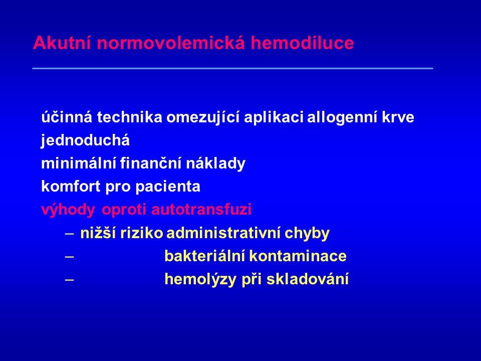Princip akutní normovolemické hemodiluce odběr plné krve krátce před výkonem náhrazení odebraného objemu koloidními či krystaloidními roztoky hematokr