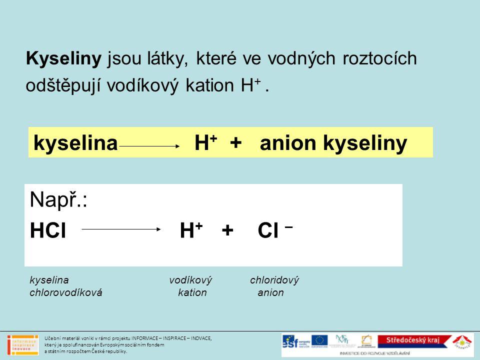 Kyseliny jsou látky, které ve vodných roztocích odštěpují vodíkový kation H +.