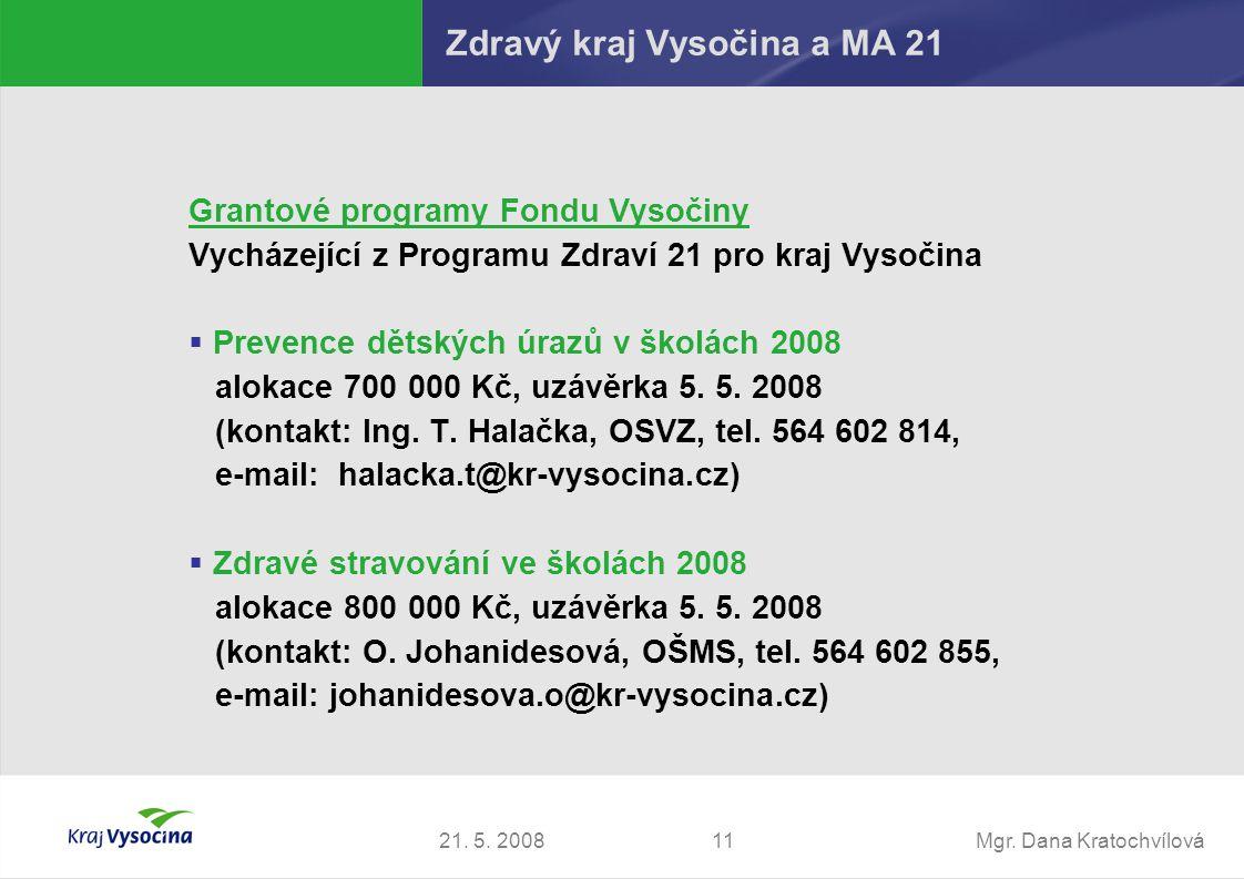 Mgr. Dana Kratochvílová1121. 5. 2008 Zdravý kraj Vysočina a MA 21 Grantové programy Fondu Vysočiny Vycházející z Programu Zdraví 21 pro kraj Vysočina