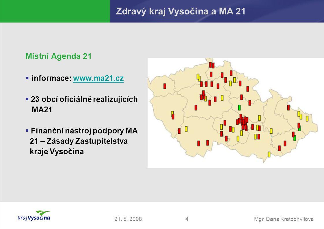 Mgr. Dana Kratochvílová421. 5. 2008 Zdravý kraj Vysočina a MA 21 Místní Agenda 21  informace: www.ma21.czwww.ma21.cz  23 obcí oficiálně realizujícíc