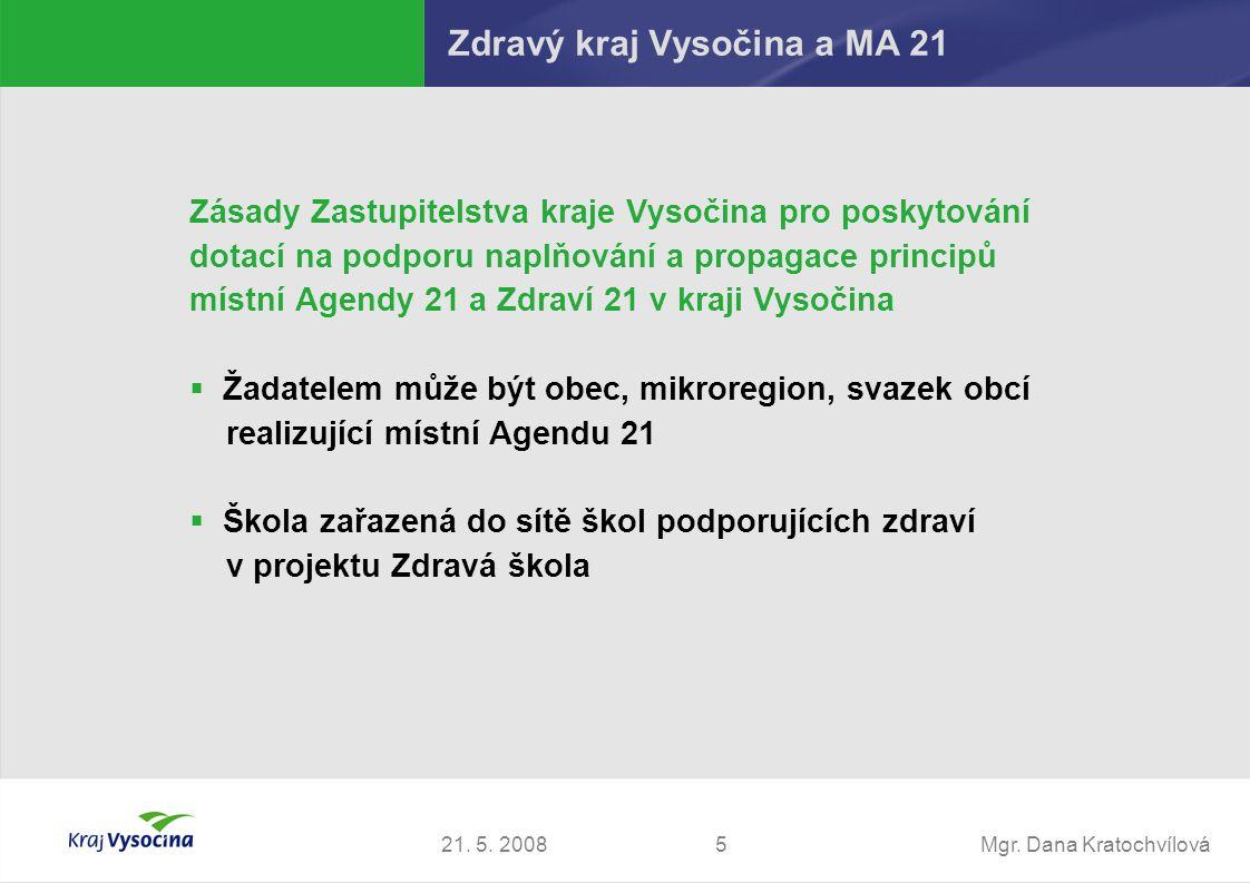 Mgr. Dana Kratochvílová521. 5. 2008 Zdravý kraj Vysočina a MA 21 Zásady Zastupitelstva kraje Vysočina pro poskytování dotací na podporu naplňování a p