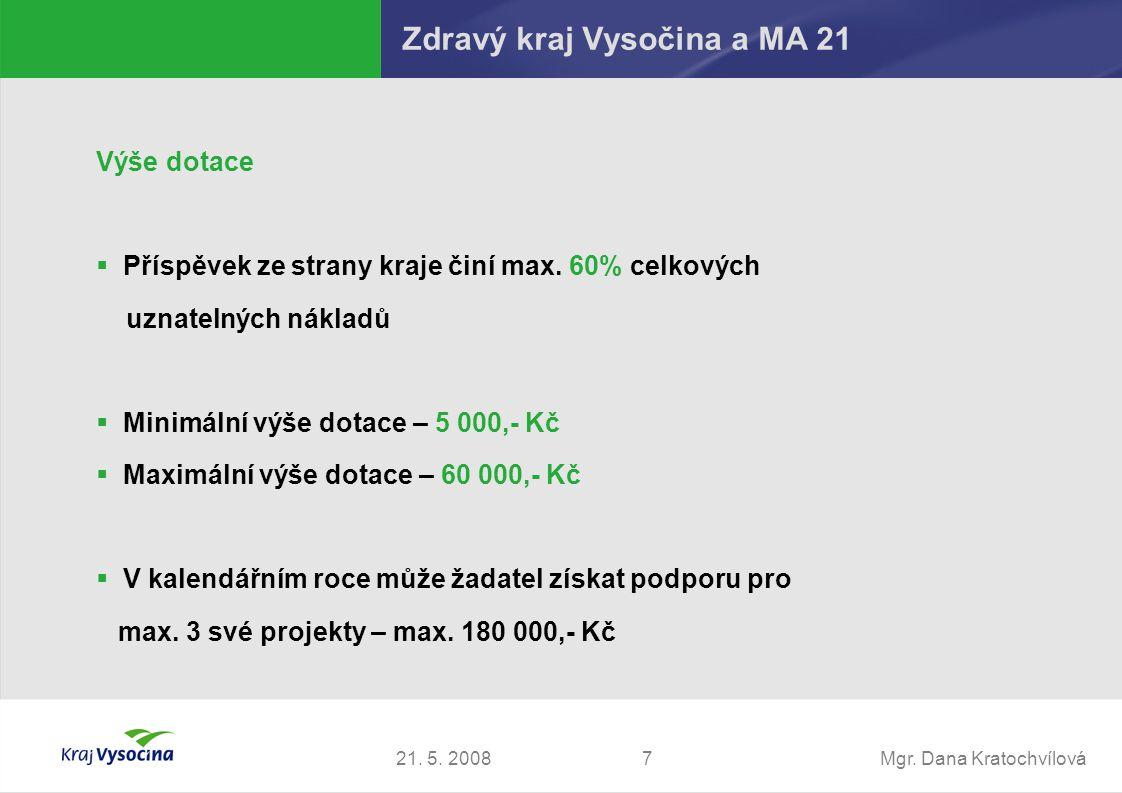 Mgr. Dana Kratochvílová721. 5. 2008 Výše dotace  Příspěvek ze strany kraje činí max. 60% celkových uznatelných nákladů  Minimální výše dotace – 5 00