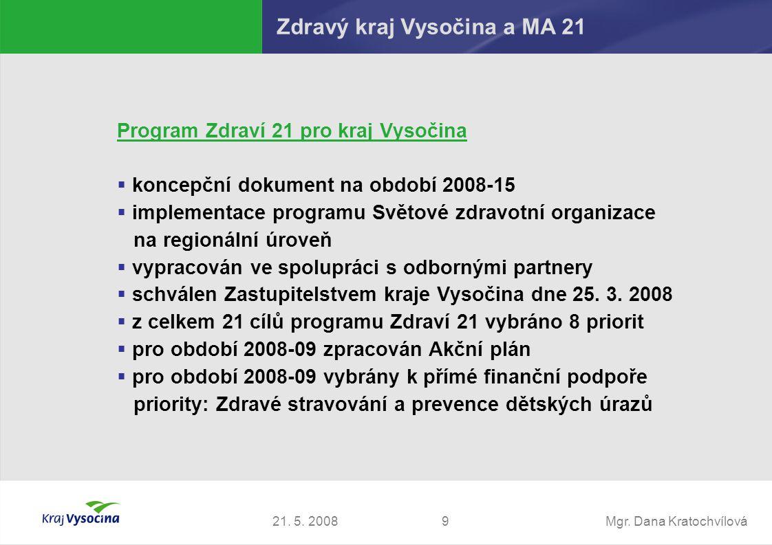 Mgr. Dana Kratochvílová921. 5. 2008 Zdravý kraj Vysočina a MA 21 Program Zdraví 21 pro kraj Vysočina  koncepční dokument na období 2008-15  implemen