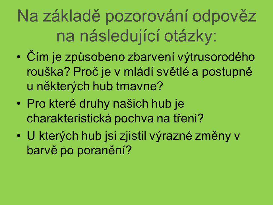 Na základě pozorování odpověz na následující otázky: Čím je způsobeno zbarvení výtrusorodého rouška.