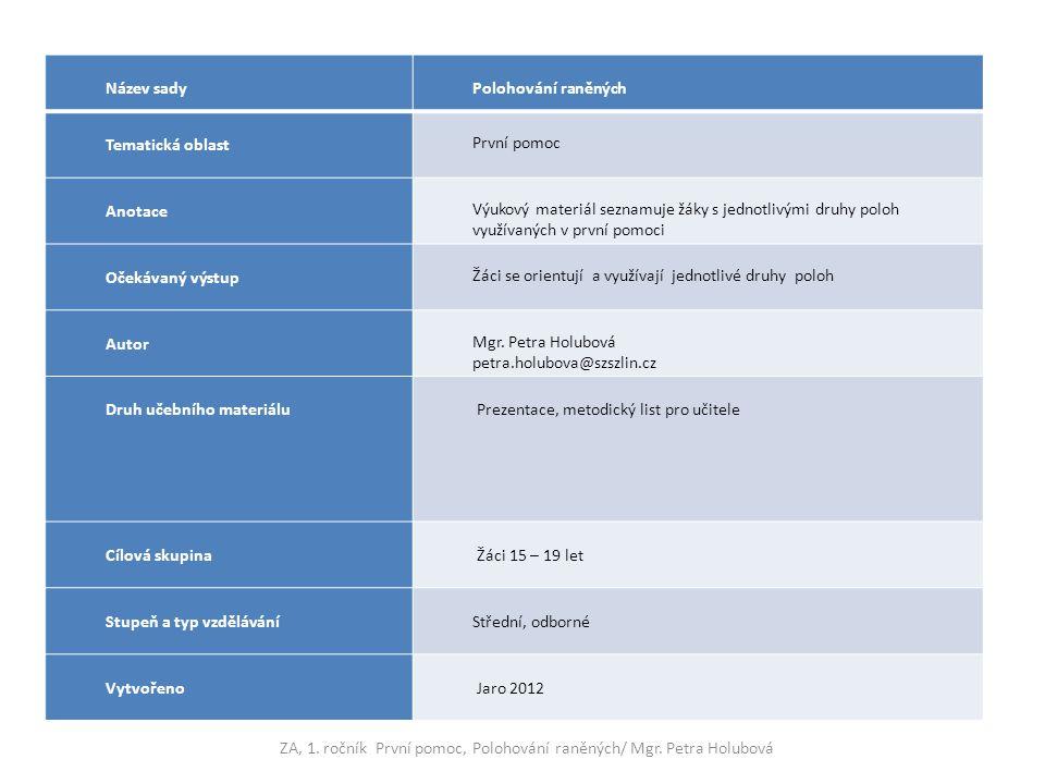 Název sady Polohování raněných Tematická oblast První pomoc Anotace Výukový materiál seznamuje žáky s jednotlivými druhy poloh využívaných v první pom