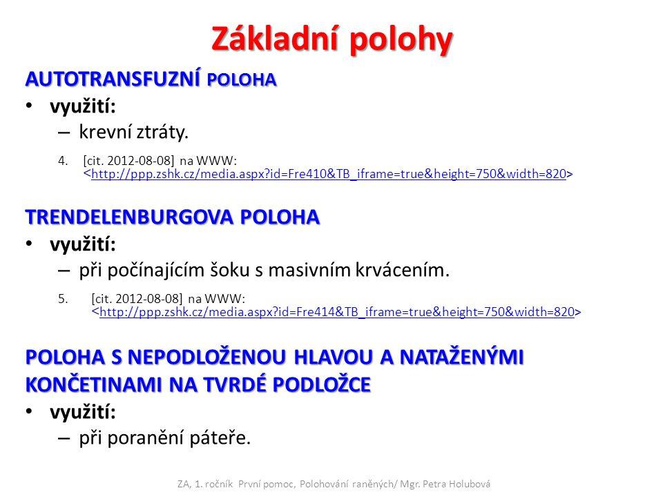 Základní polohy AUTOTRANSFUZNÍ POLOHA využití: – krevní ztráty. 4.[cit. 2012-08-08] na WWW: http://ppp.zshk.cz/media.aspx?id=Fre410&TB_iframe=true&hei