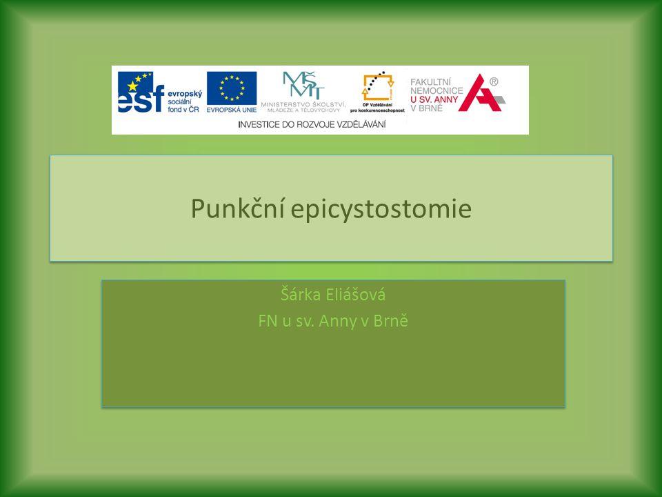 Punkční epicystostomie Šárka Eliášová FN u sv. Anny v Brně Šárka Eliášová FN u sv. Anny v Brně