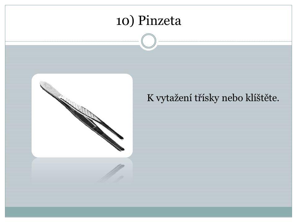 10) Pinzeta K vytažení třísky nebo klíštěte.