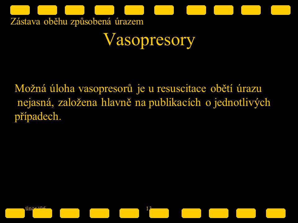 Zástava oběhu způsobená úrazem únor '0613 Vasopresory Možná úloha vasopresorů je u resuscitace obětí úrazu nejasná, založena hlavně na publikacích o jednotlivých případech.