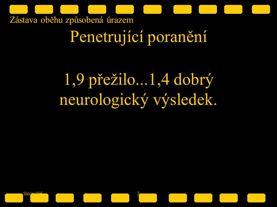 Zástava oběhu způsobená úrazem únor '063 Penetrující poranění 1,9 přežilo...1,4 dobrý neurologický výsledek.