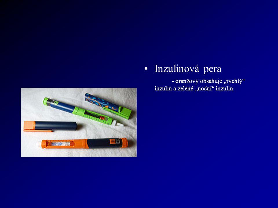 """Inzulinová pera - oranžový obsahuje """"rychlý"""" inzulin a zelené """"noční"""" inzulin"""