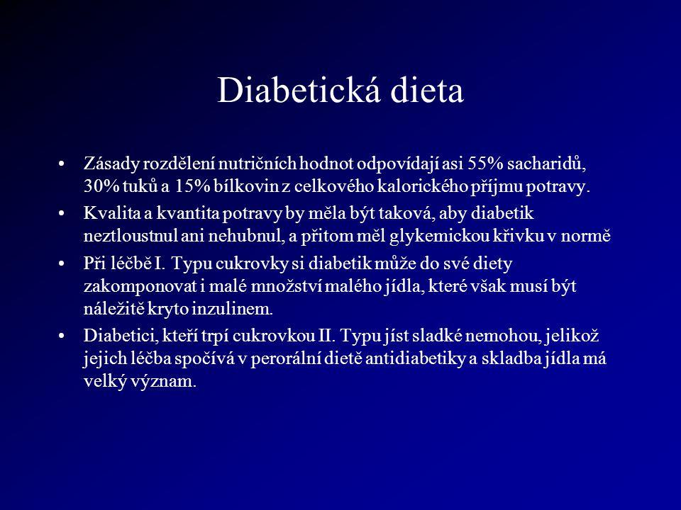 Diabetická dieta Zásady rozdělení nutričních hodnot odpovídají asi 55% sacharidů, 30% tuků a 15% bílkovin z celkového kalorického příjmu potravy.