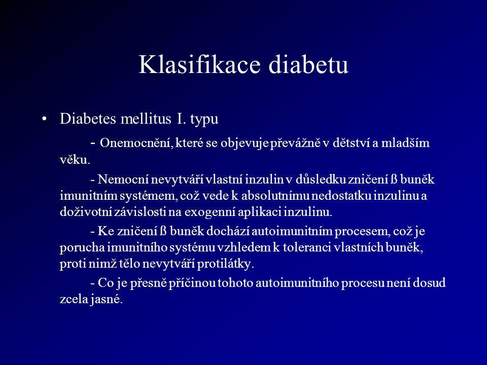 Klasifikace diabetu Diabetes mellitus I. typu - Onemocnění, které se objevuje převážně v dětství a mladším věku. - Nemocní nevytváří vlastní inzulin v