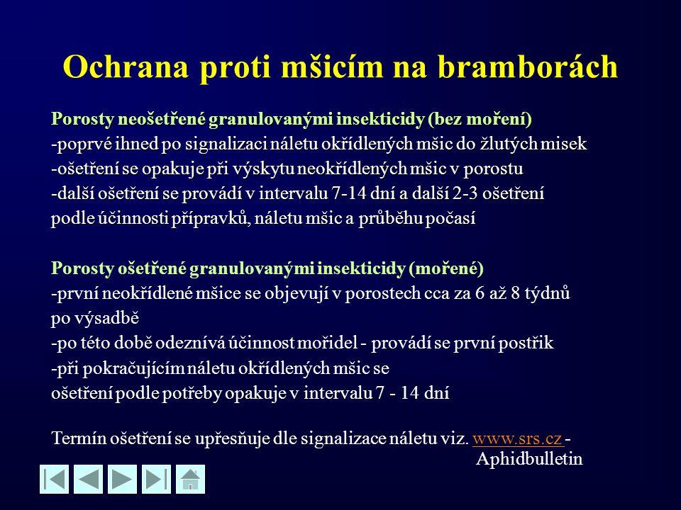 Ochrana proti mšicím na bramborách Porosty neošetřené granulovanými insekticidy (bez moření) -poprvé ihned po signalizaci náletu okřídlených mšic do ž