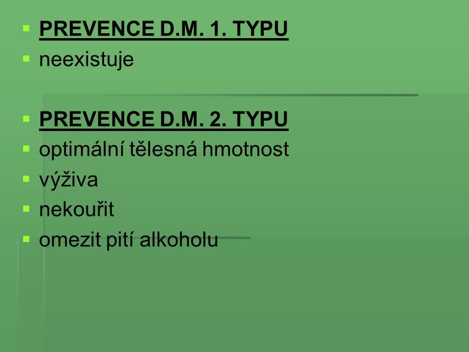   PREVENCE D.M. 1. TYPU   neexistuje   PREVENCE D.M. 2. TYPU   optimální tělesná hmotnost   výživa   nekouřit   omezit pití alkoholu