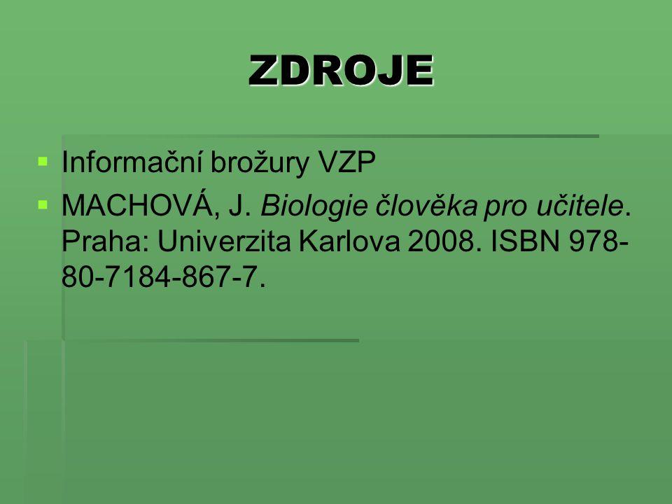 ZDROJE   Informační brožury VZP   MACHOVÁ, J. Biologie člověka pro učitele. Praha: Univerzita Karlova 2008. ISBN 978- 80-7184-867-7.