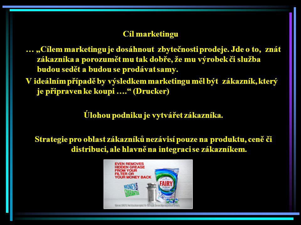"""Cíl marketingu … """"Cílem marketingu je dosáhnout zbytečnosti prodeje."""