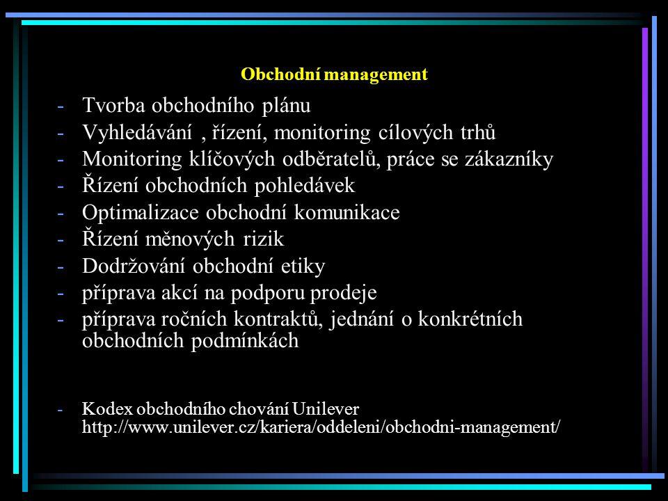 Obchodní management -Tvorba obchodního plánu -Vyhledávání, řízení, monitoring cílových trhů -Monitoring klíčových odběratelů, práce se zákazníky -Řízení obchodních pohledávek -Optimalizace obchodní komunikace -Řízení měnových rizik -Dodržování obchodní etiky -příprava akcí na podporu prodeje -příprava ročních kontraktů, jednání o konkrétních obchodních podmínkách -Kodex obchodního chování Unilever http://www.unilever.cz/kariera/oddeleni/obchodni-management/