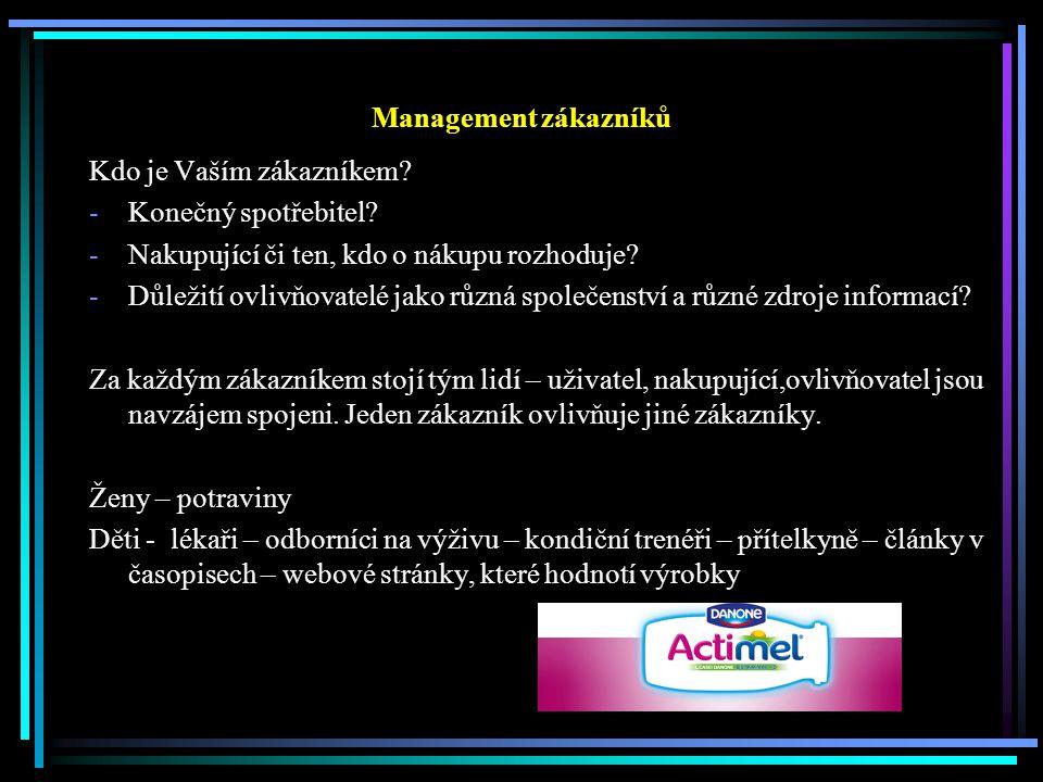 Management zákazníků Kdo je Vaším zákazníkem. -Konečný spotřebitel.