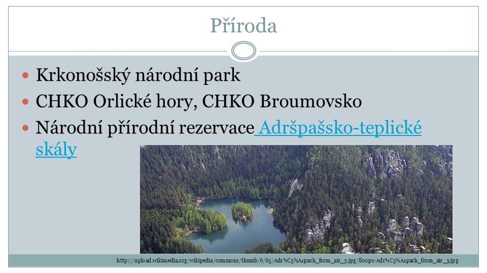 Příroda Krkonošský národní park CHKO Orlické hory, CHKO Broumovsko Národní přírodní rezervace Adršpašsko-teplické skály Adršpašsko-teplické skály http