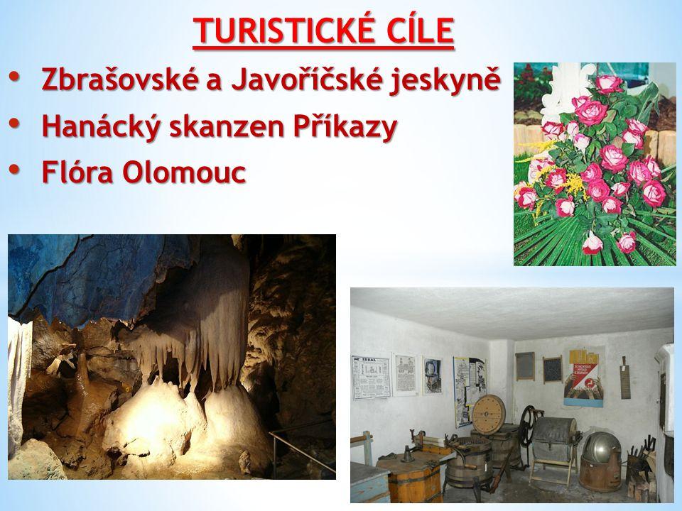 TURISTICKÉ CÍLE Zbrašovské a Javoříčské jeskyně Zbrašovské a Javoříčské jeskyně Hanácký skanzen Příkazy Hanácký skanzen Příkazy Flóra Olomouc Flóra Ol