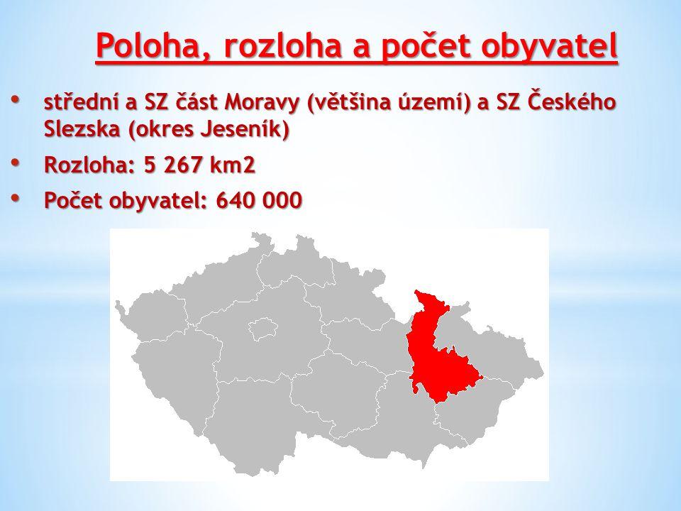 Poloha, rozloha a počet obyvatel střední a SZ část Moravy (většina území) a SZ Českého Slezska (okres Jeseník) střední a SZ část Moravy (většina území