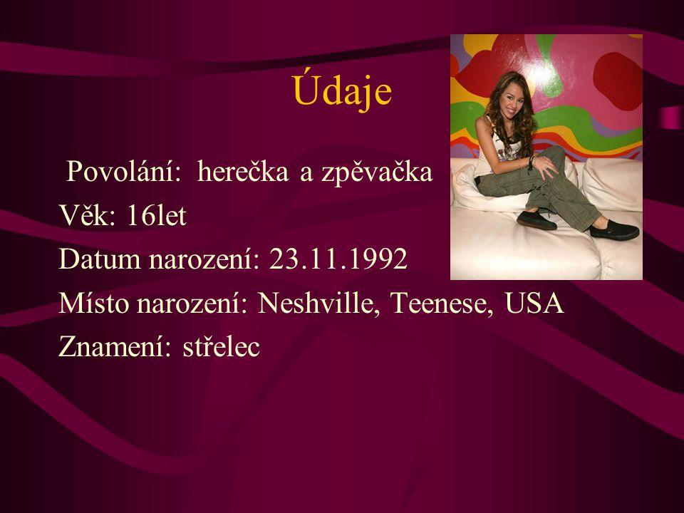 Údaje Povolání: herečka a zpěvačka Věk: 16let Datum narození: 23.11.1992 Místo narození: Neshville, Teenese, USA Znamení: střelec
