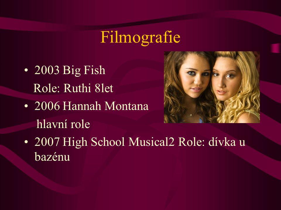 Filmografie 2003 Big Fish Role: Ruthi 8let 2006 Hannah Montana hlavní role 2007 High School Musical2 Role: dívka u bazénu