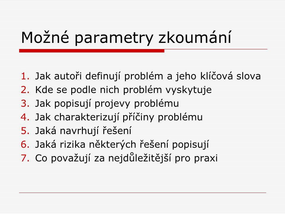 Možné parametry zkoumání 1.Jak autoři definují problém a jeho klíčová slova 2.Kde se podle nich problém vyskytuje 3.Jak popisují projevy problému 4.Jak charakterizují příčiny problému 5.Jaká navrhují řešení 6.Jaká rizika některých řešení popisují 7.Co považují za nejdůležitější pro praxi