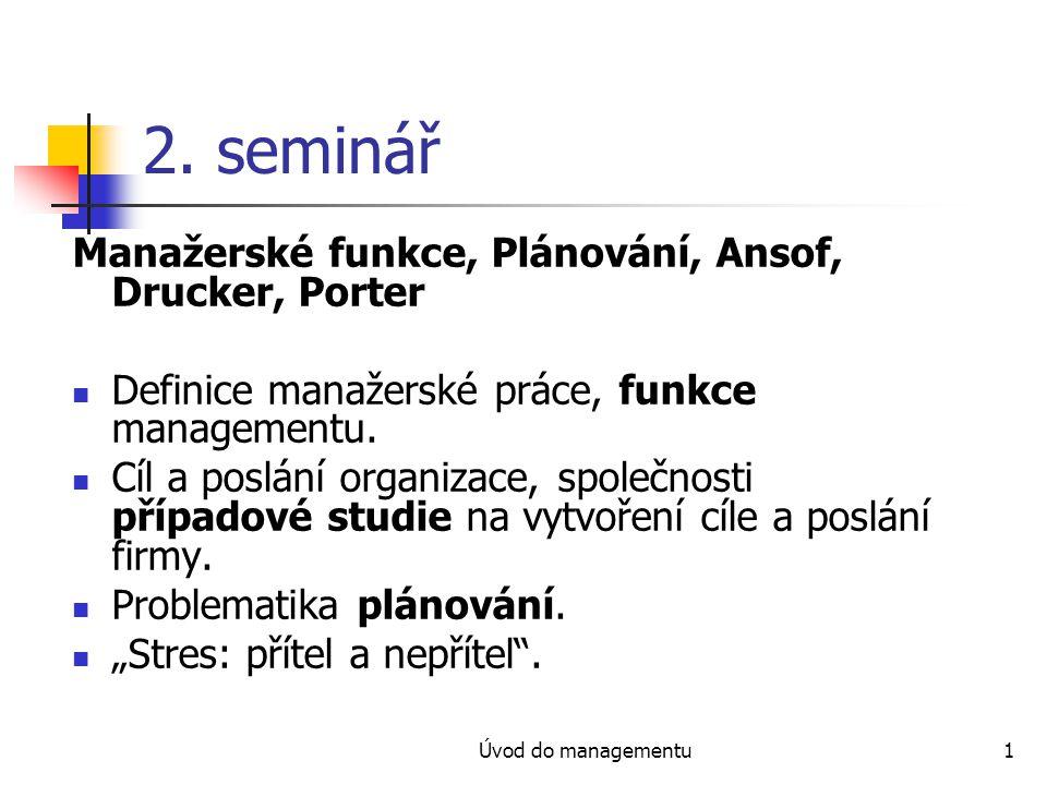 Úvod do managementu22 Druhy plánů - II Podle oblasti řízení prodej výroba lidské zdroje finance materiálové toky informační toky