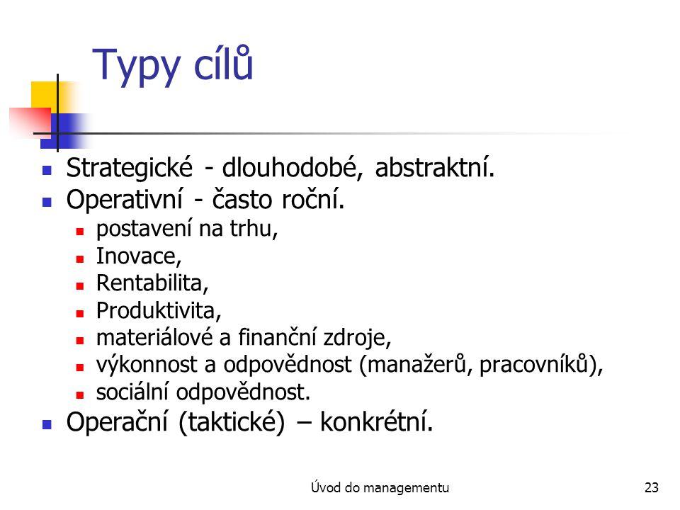 Úvod do managementu23 Typy cílů Strategické - dlouhodobé, abstraktní. Operativní - často roční. postavení na trhu, Inovace, Rentabilita, Produktivita,